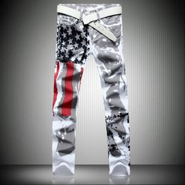 $enCountryForm.capitalKeyWord Australia - men jeans Men's White American Flag Printed Jeans High-elastic Slim Casual Five-pointed Star Red Strips Large Size Trousers