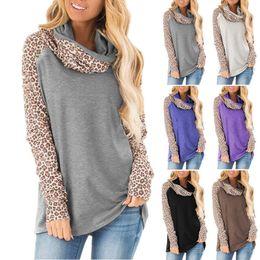 Wholesale turtleneck t shirt female online – design High street Office Lady Turtleneck Leopard Print Pullovers Long Sleeve Female Tee New Autumn Loose Casual Women T shirt Top