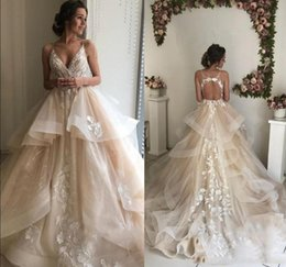 $enCountryForm.capitalKeyWord Australia - Sexy Spaghetti Straps Lace Wedding Dresses with Appliques Court Train Draped Tiered Tulle Backless Bridal Gowns Custom Made