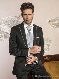 $enCountryForm.capitalKeyWord NZ - High Quality Cheap Black Men Suits For Wedding Slim Fit Groomsmen Tuxedos Three Pieces Men Prom Party Suit (Jacket+Pants+jacket+tie)