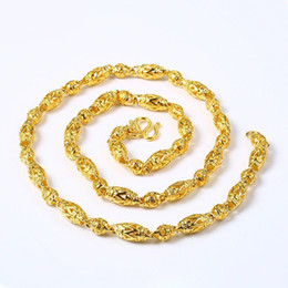 Chains Mm Australia - (293N) ( 58 cm x 5 mm ) 24k Pure Gold Plated Hollow Buddha Beads Chain Necklaces For Men Domineering Fashion Jewelry