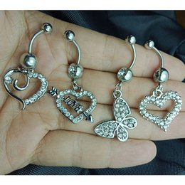 14k gold belly button rings NZ - MSC001 Mix 4 Pcs Styles Clear Color Belly Button Ring Heart Butterfly An arrow pierces the heart