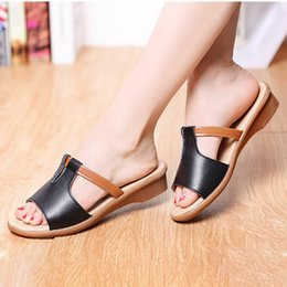 Ladies yeLLow sandaLs online shopping - New Summer Women Slippers Pu Leather Flip Flop Fashion Sandals Feamle Solid Elegant Low Heel Outdoor Slides Ladies Beach Shoes