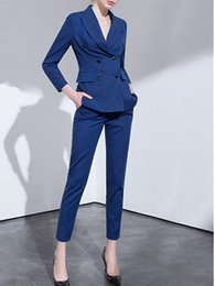armies suit color Australia - NEW 2020 Women's suit women's double-breasted quality suit 2 sets (jacket + pants) women's casual professional wear custom made