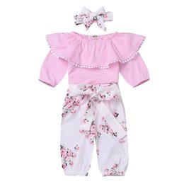 infant lace shirts Australia - INS New Infant Baby Girls Rompers with Floral Pants and Hairbands 3pieces Sets Autumn Turn-down Collar Lace Jumpsuits Children Clothing Set