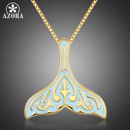 $enCountryForm.capitalKeyWord NZ - AZORA Fashion Retro Pattern Ocean Sea Blue Enamel Fish Whale's Tail Mermaid Pendant Necklaces Women Gold Jewelry Gift TN0279