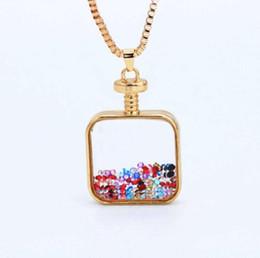 $enCountryForm.capitalKeyWord Australia - Square Shape Transparent Glass Necklace Pendants Swan Friendship Jewelry BFF Crystal Bead Round Perfume Bottle Necklace Women Best Friends