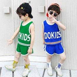 $enCountryForm.capitalKeyWord Australia - Casual boys suits kids sweat suit kids tracksuit boy tracksuit kids designer clothes boys sets Vest+Shorts 2pcs boys designer clothes A6619