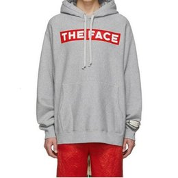 grey red sweatshirts men Australia - 19FW THE FACE Red Logo Printed Grey Hooded Sweatshirt Couple Casual Street Outdoor Men Women Fashion Sport Hoodies Pullover HFHLWY115
