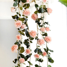 $enCountryForm.capitalKeyWord Australia - 180cm Artificial Rose Flower Vines For Wedding Home Decorative Fake Flowers Rattan With Green Leaves Silk Flower Hanging Garland