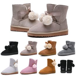 Round bow online shopping - Designer Women Boots Australia Classic Bailey Hairball Bow Tie Snow Booties Ankle Knee Girls Ladies Fashion Winter Boot