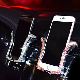 Wholesale car cell phone holder clip for sale - Group buy NEW Universal Car Phone Holder with Bing Crystal Rhinestone Car Air Vent Mount Clip Cell Phone Holder for iPhone Samsung Car Holder