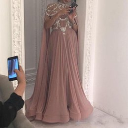 LiLac dresses online shopping - 2019 New Arrival A Line Prom Dresses High Neck Crystal Beads Chiffon Floor Length Sexy Plus Size Evening Custom Made Party Pageant Gowns