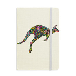 magnetic notebooks Australia - Australia Kangaroo Colored Drawing Illustration Notebook Fabric Hard Cover Classic Journal Diary A5