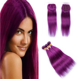 $enCountryForm.capitalKeyWord Australia - Pure Colored Purple Virgin Indian Hair Weave 3 Bundles Deals with Lace Closure Silky Straight Purple Human Hair Extensions and Closures