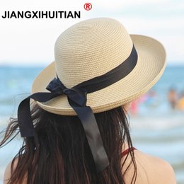 cb752a5f6a397 2018 summer straw hat women big wide brim beach hat sun foldable sun block  UV protection panama bone chapeu feminino