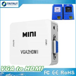 China Mini VGA to HDMI Converter With Audio VGA2HDMI 1080P Adapter Connector For Projector PC Laptop to HDTV With Package MQ100 suppliers