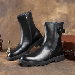 mens leather mid calf boots NZ - Fashion Black Mid High Mens Boots Genuine Leather Boots Man Winter Boots