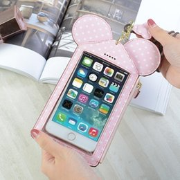 organizer wallet purse case bag Canada - Fashion Women Coin Purse Mickey Dot Card Holder Wallet PU Leather Mini Mobile Phone Bag Zipper Slim Credit Card Case Wholesale