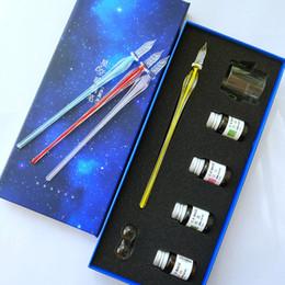 $enCountryForm.capitalKeyWord Australia - 1pcs Crystal Glass Pen Ink Pens Set Color Ink Signature Pen Gift Box Comic Color Test To Send Friends Gifts