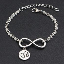 $enCountryForm.capitalKeyWord Australia - Handmade Double Infinity Love Buddhist 3D Ohm Aum Yoga OM Symbol Pendant Charm Wrap Bracelet Link Chain Adjustable DIY Jewelry For Men Women
