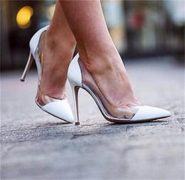 $enCountryForm.capitalKeyWord Australia - Spring Women Pumps Clear PVC High Heels Shoes Slip On Point Toes Stilettos Pumps Transparent PVC Patchwork Dress Shoes