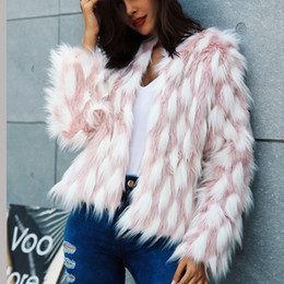 $enCountryForm.capitalKeyWord Australia - Fluffy Warm Faux Fur Coat Women Fake Fur Jacket Winter Coats Female Autumn Pink White Mixcolor Party Casual Furry Overcoat Outerwear