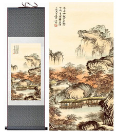 Chinese Landscape Oil Paint NZ - Landscape Painting Home Office Decoration Chinese Scroll Painting Mountains And River Paintingprinted Painting201906107