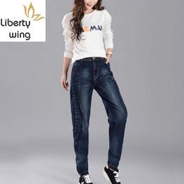 Wholesale womens wind pants resale online – Cowboy Denim Harem Womens Baggy Casual Autumn Full Length Jeans Washed BF Wind Loose Hip Hop Pants Pantalon Feminino
