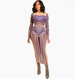 China Mysterious Kim Kardashian Sinuous Stripe Print Sexy Dress Sheer Mesh Long Sleeve Back Slit Maxi Bodycon Dress For Women Vestidos Y19052901 cheap dress long sexy kardashian suppliers