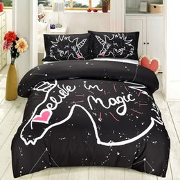 Wholesale Unicorn Black Kids Bedding Set Duvet Cover Pillow Sham Comforter Quilt Cover