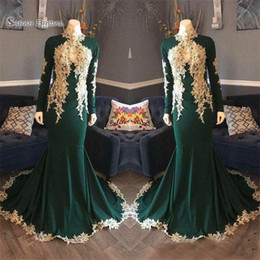 $enCountryForm.capitalKeyWord Australia - 2019 Hunter Green High Neck Long Sleeves Evening Dresses With Lace Appliques Plus Size Formal Prom Party Gowns For Arabic Women