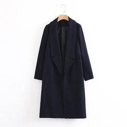 $enCountryForm.capitalKeyWord UK - Casaco Feminino Winter Coat 2019 Wool Blends Coats Long Jacket Elegant Office Coat For Women Black Navy Blue Woolen Overcoats