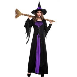 cosplay costumes for plus size Australia - Plus Size Adult Purple Witch Costumes For Women Halloween Cosplay Costume Festival Parade Carnival Party Long Dress for Female