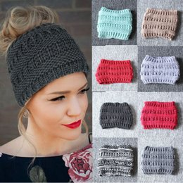 stretchy ponytails 2019 - Casual Women Beanie Hats Tail Messy Bun Hat Ponytail Stretchy Crochet Knitted Skull Caps Multicolor Ladies Warm Hats che