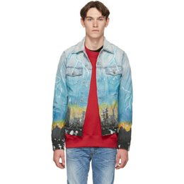 Pocket dragons online shopping - 19SS DISTRESSED DENIM TRUCKER JACKET DRAGON AIRBRUSH MURAL Washing Embroidery Blue Jacket Men Women Couples Designer Coat HFWPJK148