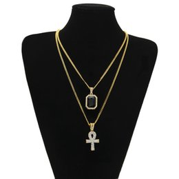 egyptian jewelry Canada - 2020 Egyptian Ankh Key of Life Bling Rhinestone Cross Pendant With Red Ruby Pendant Necklace Set Men Fashion Hip Hop Jewelry