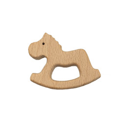 horse baby cartoon Australia - Wooden Horse Teethers Nature Baby Teething Toy Organic Eco-friendly Wood Teething Holder Nursing Baby Teether DIY Accessories