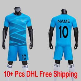 Mens Green Soccer Jersey NZ - NEW 2019 20 Mens Blue Color Soccer Jersey Sets CAN Customize NAME NUMBER Futbol Uniforms Football Club Team Games Training Kits Suit Shirts