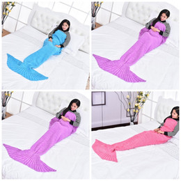 $enCountryForm.capitalKeyWord Australia - Mermaid Tail Pattern Blanket Knitting Wool Super Soft Pure Color Ventilation Blanks Sleeping Bags Accessiories New Arrival 35dr E1