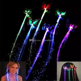 Fiber Optics Party Supplies Australia - Butterfly Rave LED Hair Braid Light-Up Flashing Fiber Optic Barrette Hair Assorted for Party Christmas supplies aa699-706 2017121904