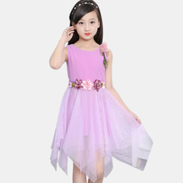 Chinese  Teen Girls Princess Dress Big Flowers Dress For Kids Party For Girls Summer Costume Girl 6 8 12 Years Child Clothing manufacturers