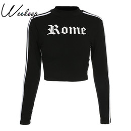 Cropped Tees Australia - Weekeep Striped Letter Print T-shirt Women Long Sleeve Cropped Cotton T Spring O-neck Tee Shirt Femme Tops Q190516