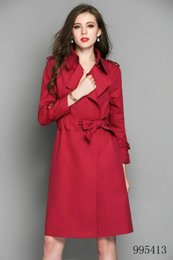 Vintage T Shirt Rayon Australia - Fashion long slim trench coat color new classic red Double Breasted Coat Jackets Trench Coats Evening Wear Dresses Blouses Shirts T-shirts