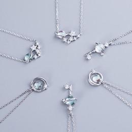 $enCountryForm.capitalKeyWord Australia - 925 Sterling Silver Blue Glaze Universe Planet Pendant Necklaces For Women Fashion White Zircon Wedding Necklace Mother Gifts