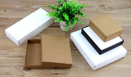 Wholesale Boxes Packaging Australia - white kraft paper gift Cardboard Box craft Packaging box black Paper Gift with lid carton cardboard 10pcs