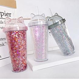 Plastic Ears Australia - Ear glitter double milk tea cup children's baby cartoon cute water cup creative sequin plastic straw juice cup ZZA345