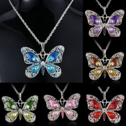 Wholesale Fashion Women Butterfly Pendant Long Chain Necklace Collier Femme Jewelry Enamel Crystal Animal Necklaces for Women