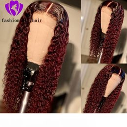 burgundy red hair color black women NZ - 180% Ombre Red Burgundy Color Lace Front wig kinky Curly simulation Human Hair Wigs For Black Women Pre-Plucked synthetic hair wig