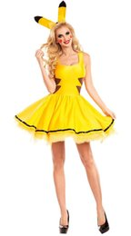 Sexy Anime Costumes For Women UK - Halloween Costumes for Women Sexy Plus Size Yellow Skirt Dress Pikachu Costume Cosplay Christmas Party Fancy Dress Animal Adult Carnival